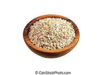 Oat-flakes in wooden bowl. Isolated on white.