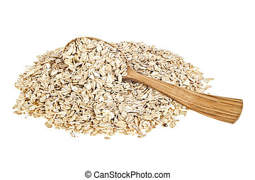 Oat flakes in wooden spoon on white background