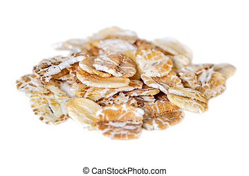Oat flakes isolated on white background. food.