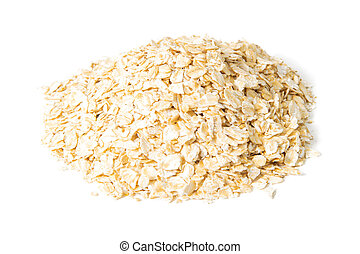 Oat flakes isolated on white background. Front views, close-up