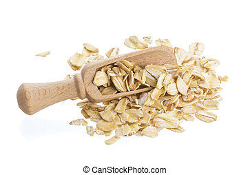 Oat flakes isolated on white background