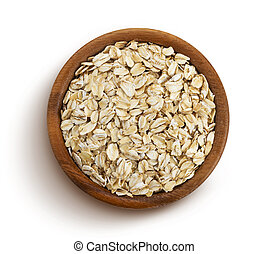 Oat flakes isolated on white background, top view