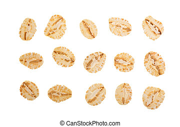 oat flakes isolated on white background. Top view. Set or collection