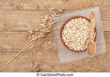oat flakes on table top view