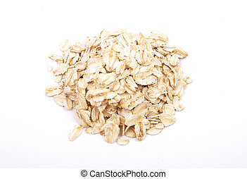 Oat flakes on white