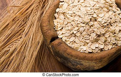 oat flakes on wood