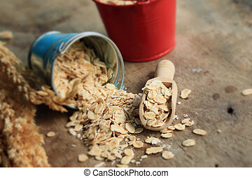 oat flakes on wood