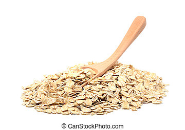 Oat flakes pile with spoon on white background