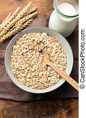 Oat flakes, rolled oats in bowl
