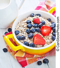 oat flakes with berries in the bowl