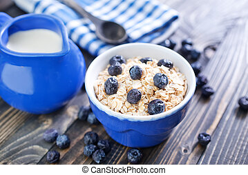 oat flakes with blueberry in the bowl