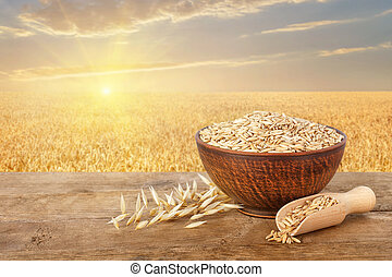 oat grains in bowl on table