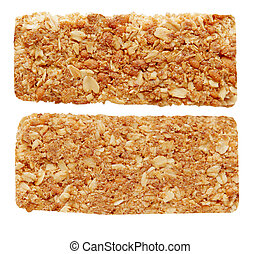 Oat granola bar - two sides of oat granola bar isolated on...