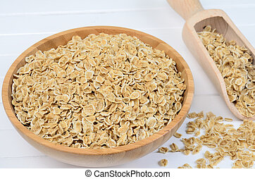 Oat in bamboo bowl