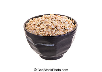 Oat in Black bowl isolated on a white background