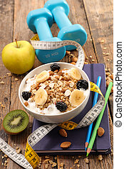 oat meal and dumbbell