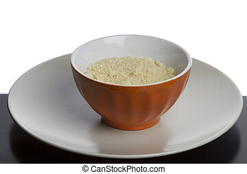 Oat meal in a bowl on a table