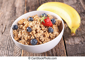 oat meal, muesli and blueberry