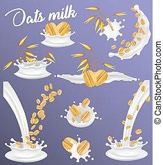 Oat milk splash set, vector realistic illustration