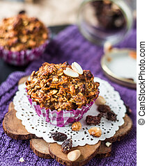 oat muffins with dried fruits and nuts