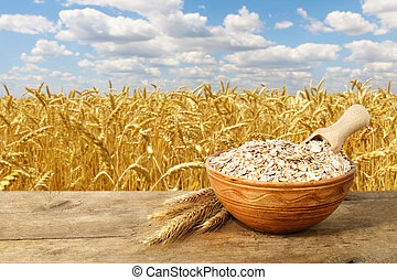 oat or wheat flakes in bowl