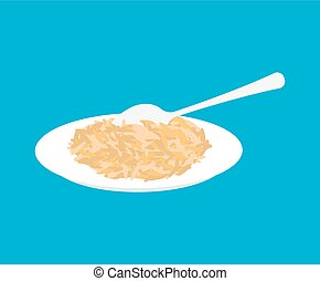 Oat Porridge in plate and spoon isolated. Healthy food for breakfast. Vector illustration