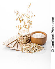 Oat products - Various dietary oat products on white...