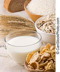 oat, rice, honey, milk in pot