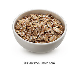 Oat rye flakes in bowl isolated on white background