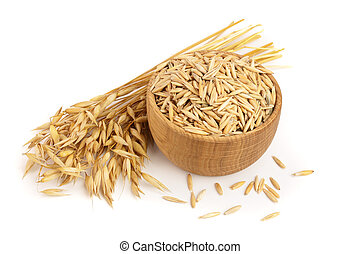 oat spike with grains in wooden bowl isolated on white background