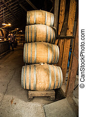 Oat wine barrels in tasting room