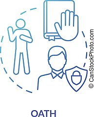 Oath blue concept icon. Affirmation in court. Making pledge on book. Courthouse legislation. Witness testimony. Notary service idea thin line illustration. Vector isolated outline RGB color drawing
