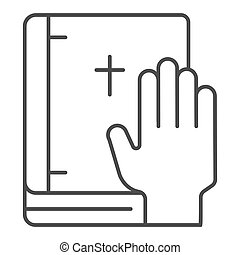 Oath on bible thin line icon. Swearing on book vector illustration isolated on white. Honest outline style design, designed for web and app. Eps 10