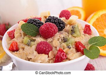 oatmeal and raspberries