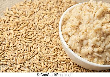 Oatmeal breakfast bowl. Organic healthy food pure