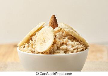 Oatmeal breakfast bowl. Organic healthy food