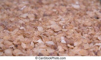 Oatmeal close-up. Super macro image. Healthy food.