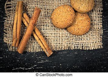 oatmeal cookies, cinnamon on burlap