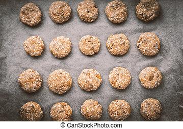 Oatmeal cookies on a baking sheet