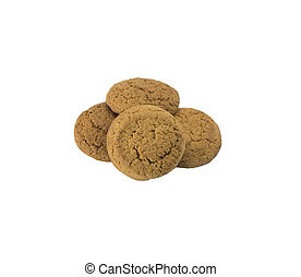 Oatmeal cookies on a white background.