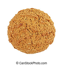 Oatmeal cookies on a white background, top view.