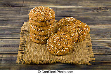 oatmeal cookies on a wooden table
