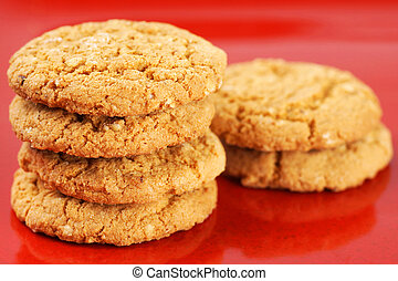 Oatmeal cookies on red plate