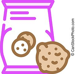 oatmeal cookies snack color icon vector illustration