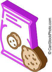 oatmeal cookies snack isometric icon vector illustration
