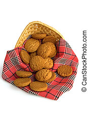 Oatmeal cookies with a red cloth