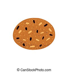 Oatmeal cookies with chocolate chips and raisins. Vector illustration