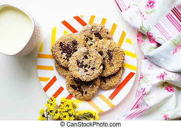 Oatmeal cookies with chocolate on a plate