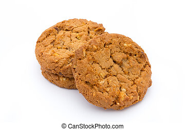 Oatmeal cookies with isolated background.