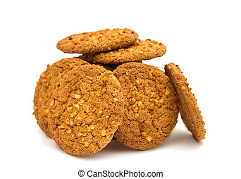 Oatmeal cookies with nuts isolated